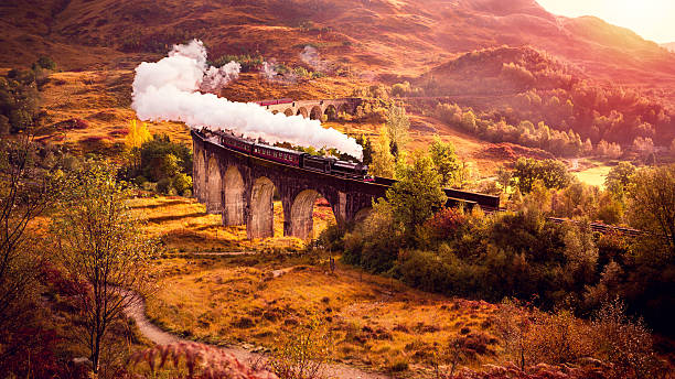 Historical Steam Train is crossing the Glenfiann Viaduct stock photo