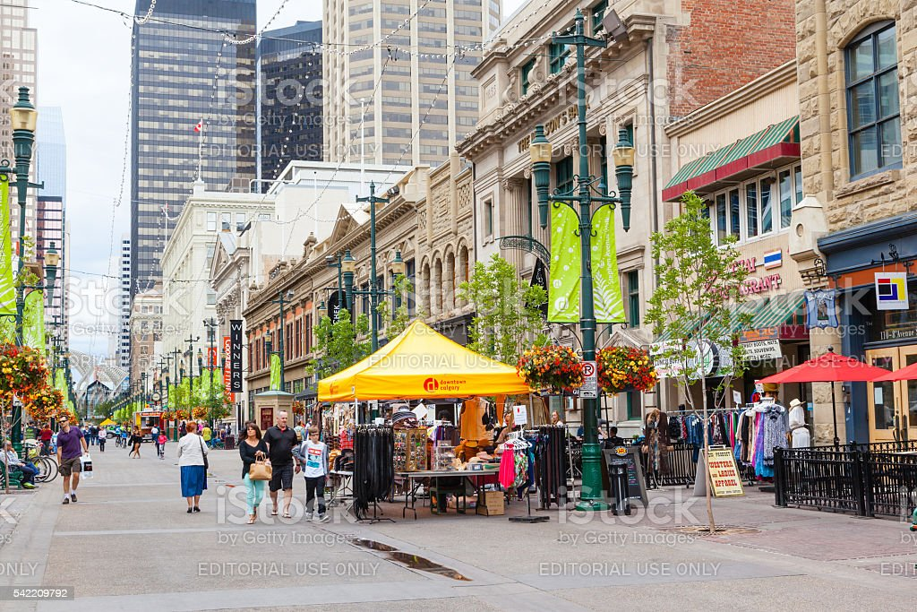 Historical Stephen Avenue in Downtown Calgary stock photo