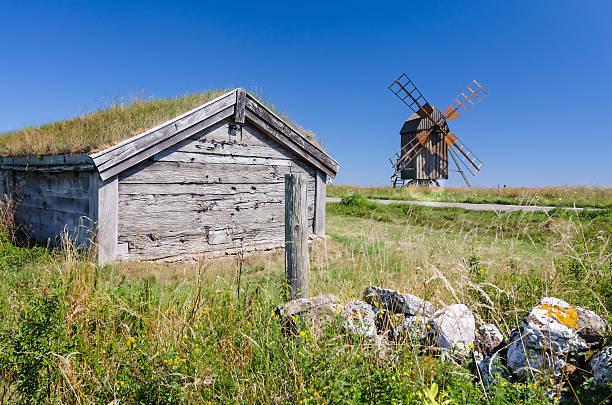 Historical symbols on Oland island stock photo