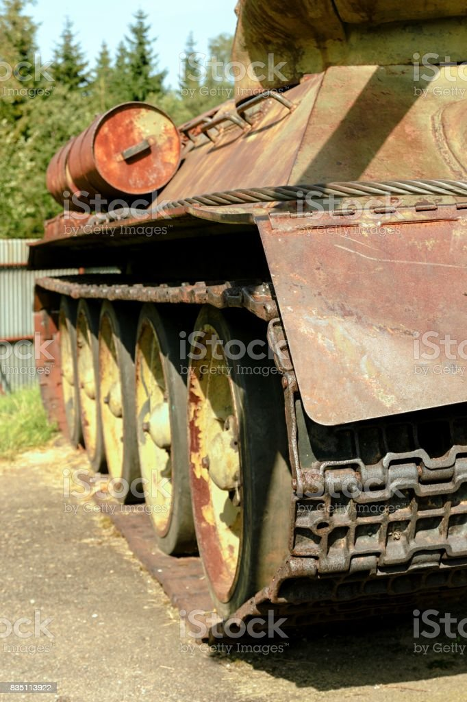 Historical T34 tank in the museum stock photo
