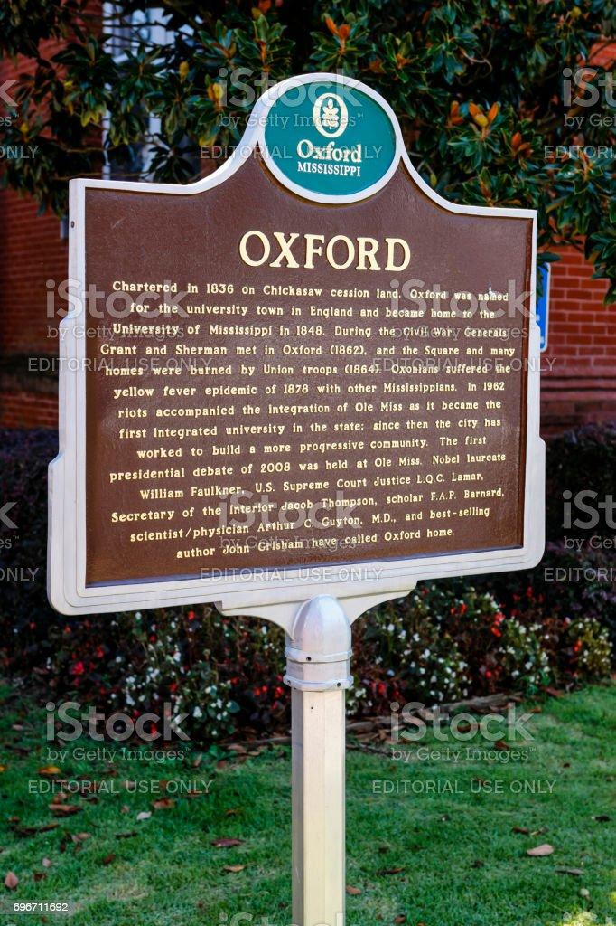 Historical Town plaque in Oxford Mississippi, USA stock photo