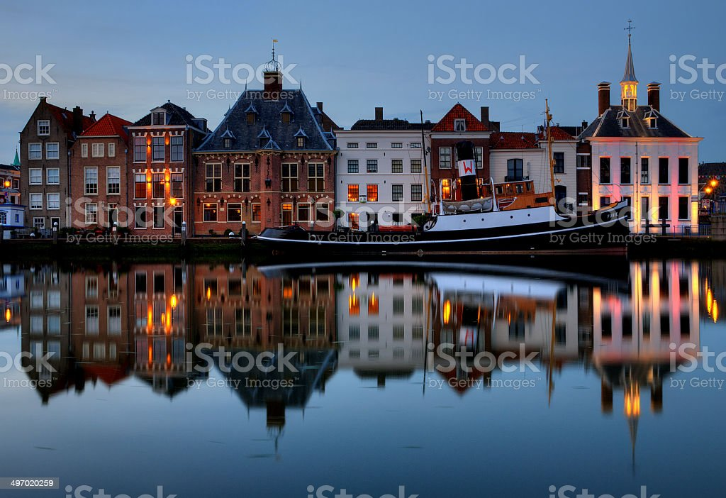 Historical townscape of Maassluis stock photo