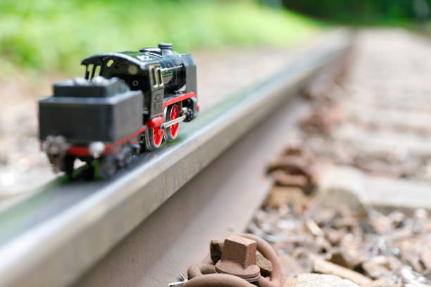 Historical Toy model of a Steam locomotive stock photo