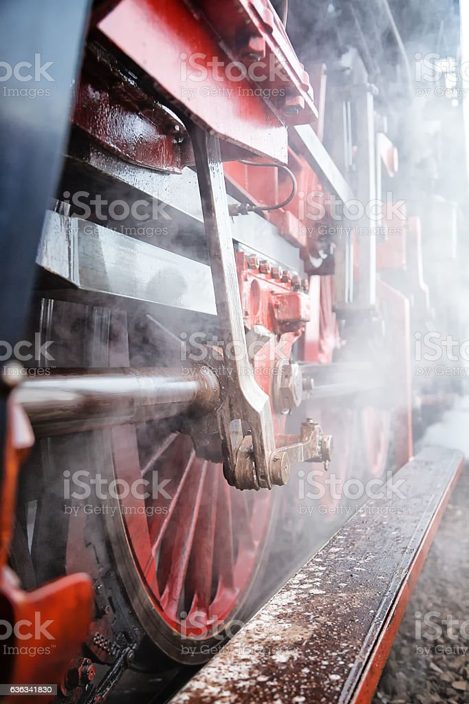 historical train close-up with steam stock photo