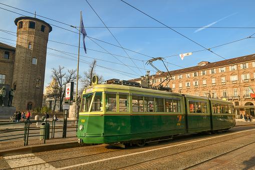 istock Historical tram in front of the Casaforte degli Acaja in Piazza Castello, Turin, Piedmont, Italy 1090482372