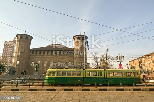 istock Historical tram in front of the Casaforte of Acaja, Turin, Piedmont, Italy 1090482342