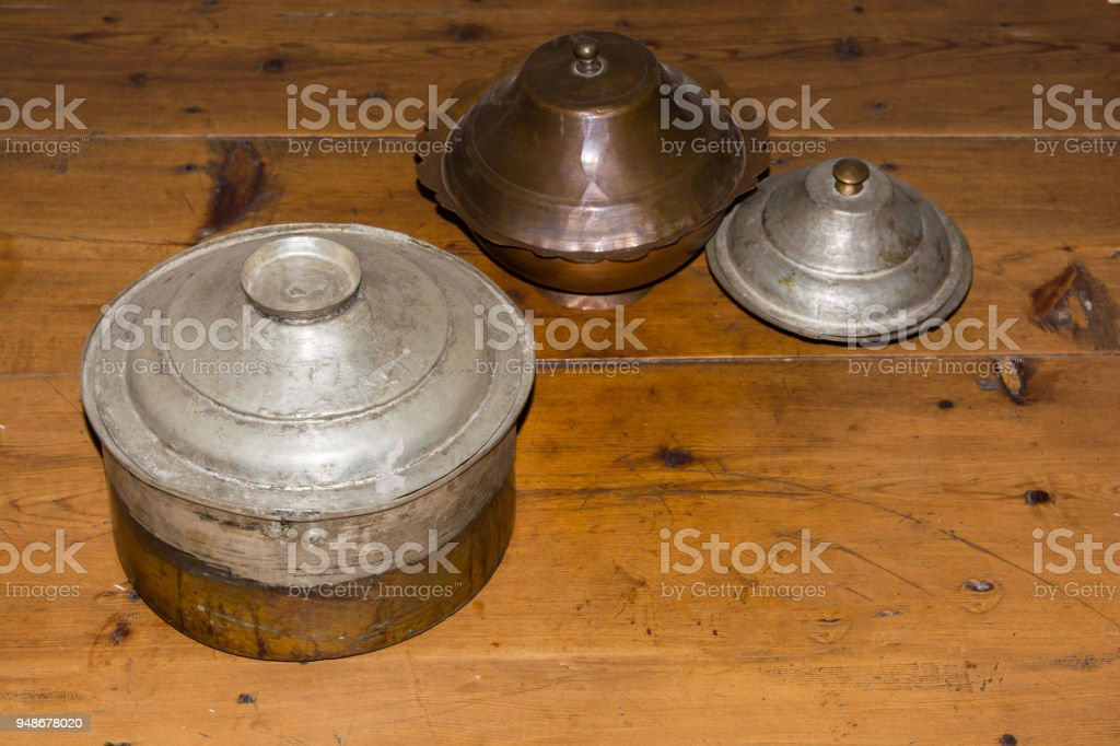 historical turkish kitchen wares stock photo