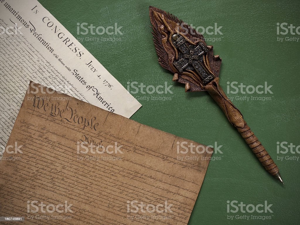 Historical US constitution documents on blackboard stock photo