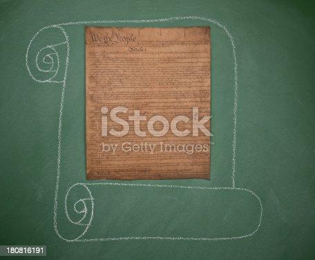 istock Historical US constitution documents on blackboard 180816191