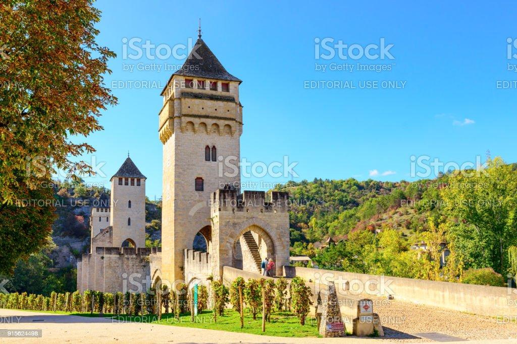 Historical Valentre Bridge of Cahors, France stock photo