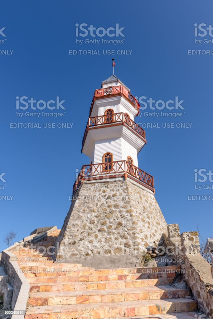 Historical victory tower on hill at top of Goynuk  town in Bolu zbiór zdjęć royalty-free