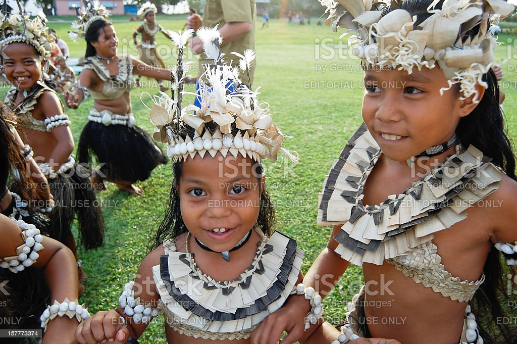 Historical Village Dance - Fiji stock photo