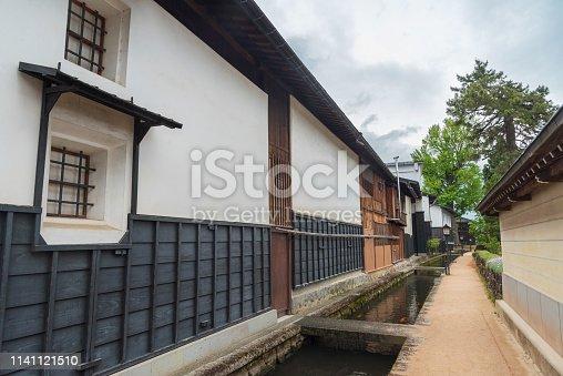 Historical village Furukawa in Hida, Gifu prefecture, Japan. Old town with water canal