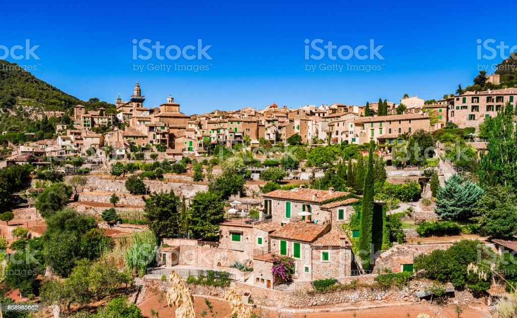 Historical village Valldemossa, Majorca island, Spain stock photo