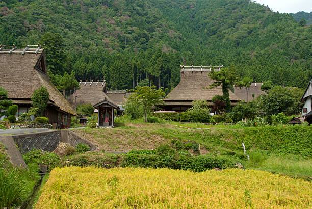 Historical village with thatched roof in Miyama Kyoto Japan stock photo