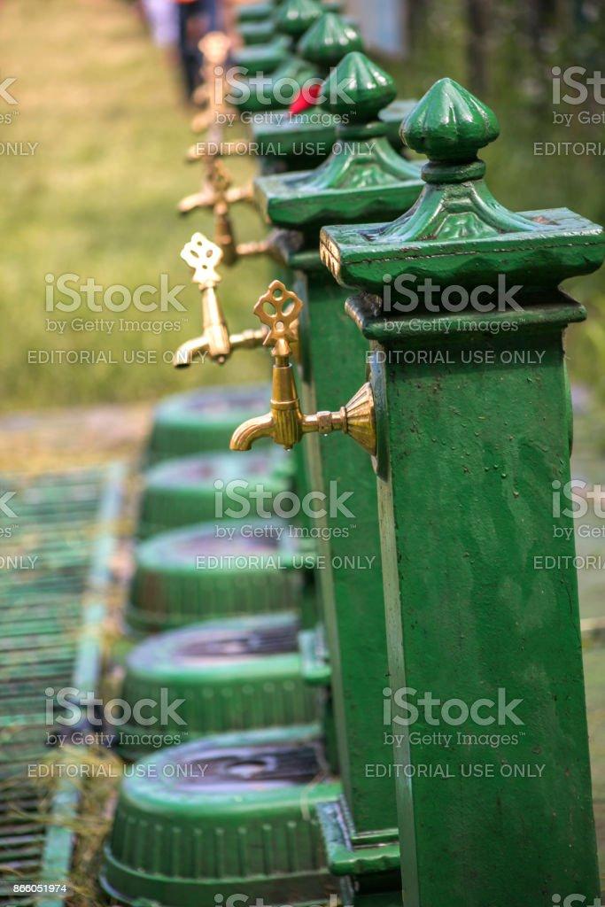 historical water fountains at kirkpinar region of edirne turkey stock photo