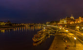 Historical waterfront of Dresden by night - Germany - Europe.