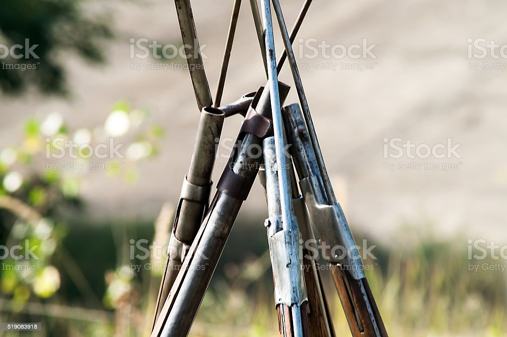 historical weapon with a bayonet stock photo