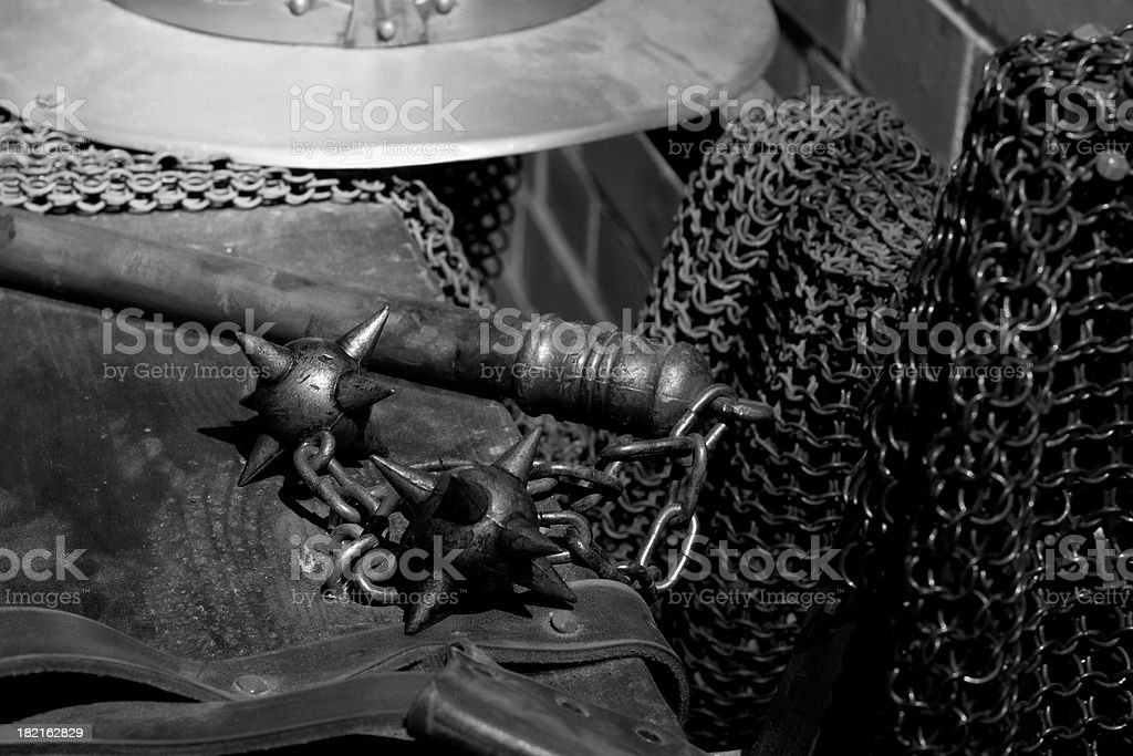 Historical weapons and armour BW royalty-free stock photo