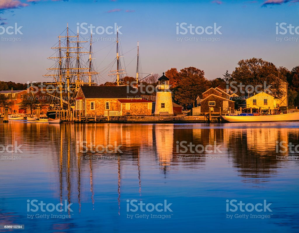 Historical whaling village Mystic Seaport Mystic, CT stock photo