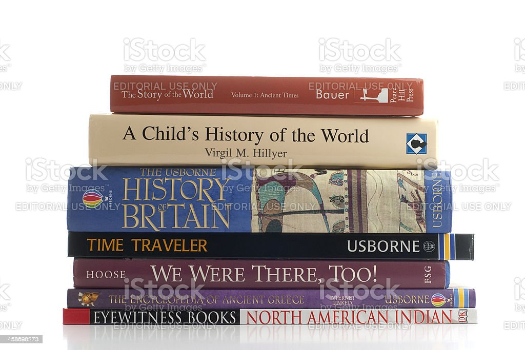 History books for children stacked against white background royalty-free stock photo