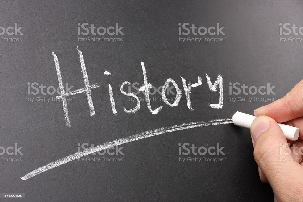 History Chalk Text on Blackboard stock photo