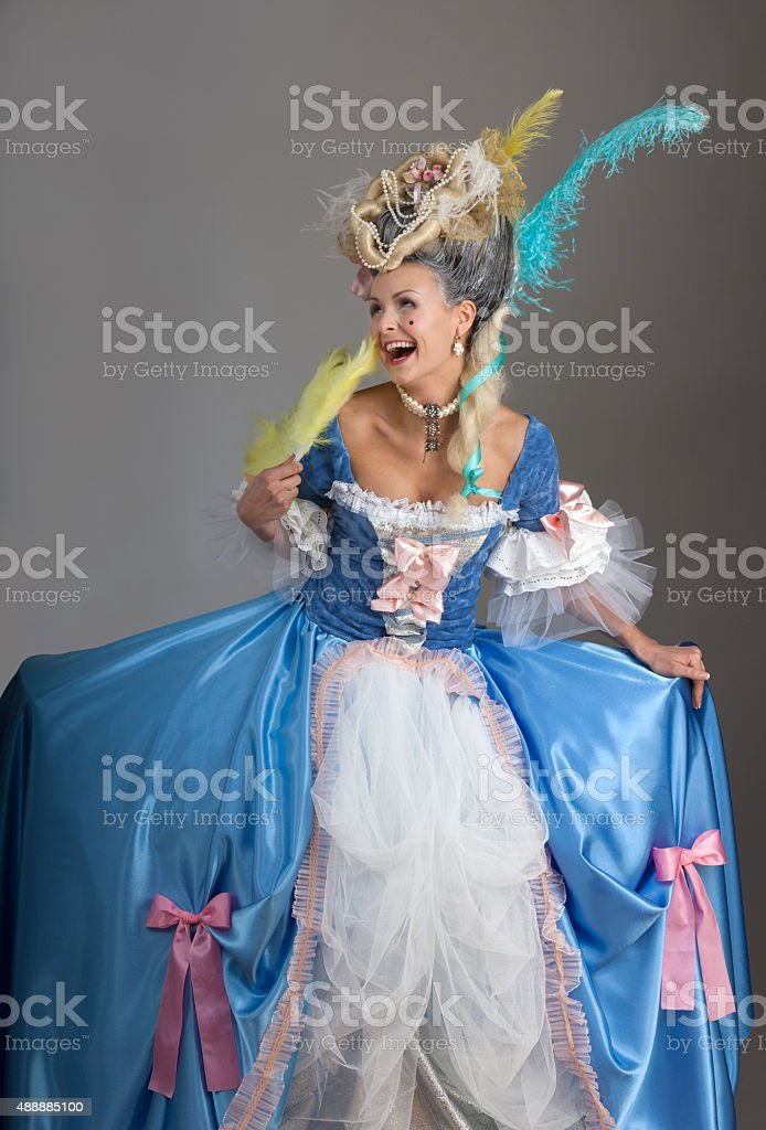 History of fashion design - medieval queen stock photo