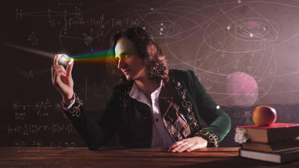Historia de la ciencia, concepto. Isaac Newton y la física. - foto de stock