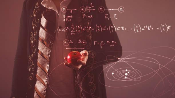 Historia de la ciencia, concepto. Isaac Newton con Apple en la mano - foto de stock