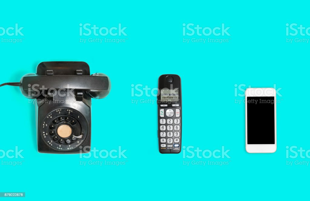 History of telephones from rotary to smartphone stock photo