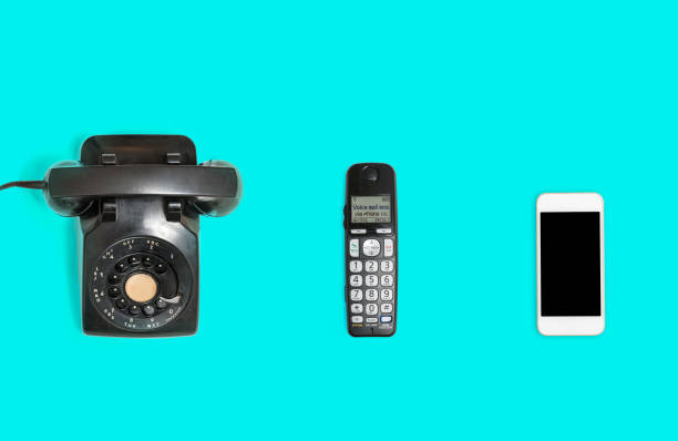 history of telephones from rotary to smartphone - the past stock photos and pictures