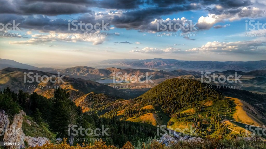 Hit and Miss Sun Over the Mountains royalty-free stock photo