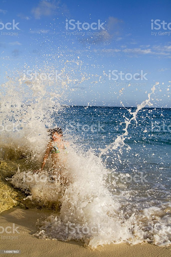 Hit By Wave stock photo