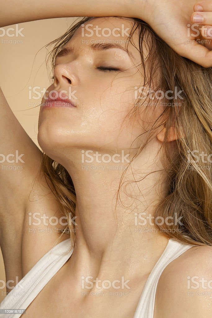 Hit girl tired from recreation royalty-free stock photo
