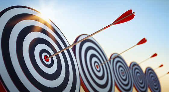 aim, marketing, target, 3d illustration, hit, success ,business concept
