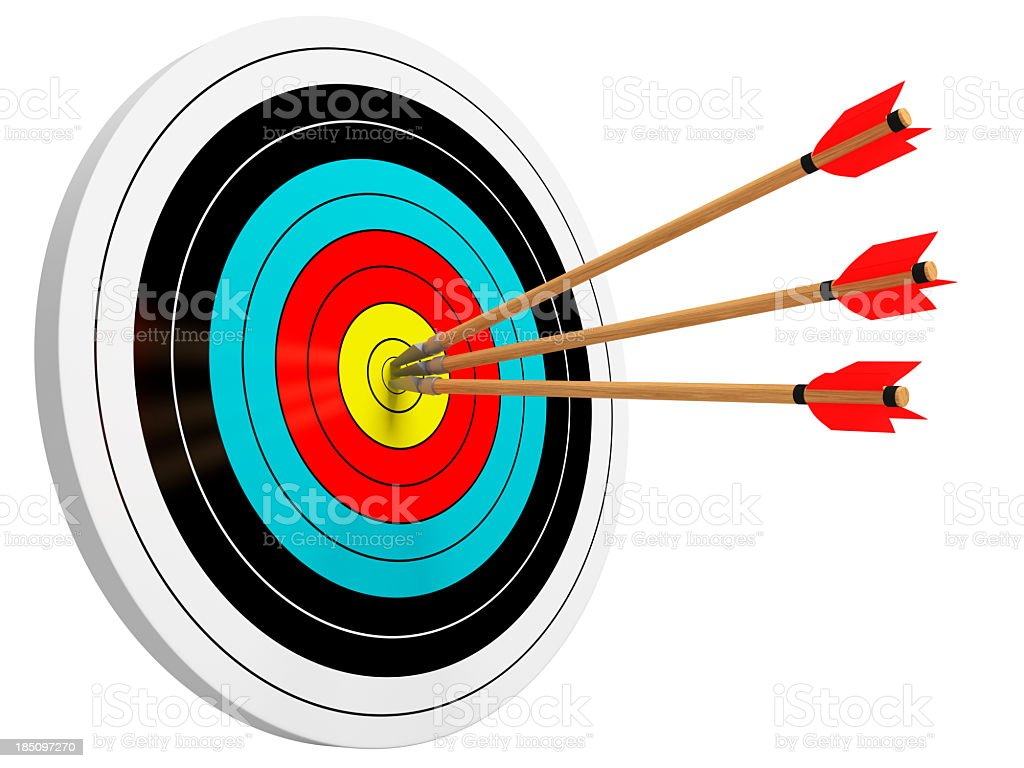 Hit The Bull's Eye Isolated stock photo