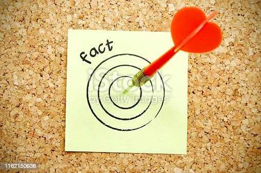 Hit The Fact Target In Darts Game Concept On The Cork Board