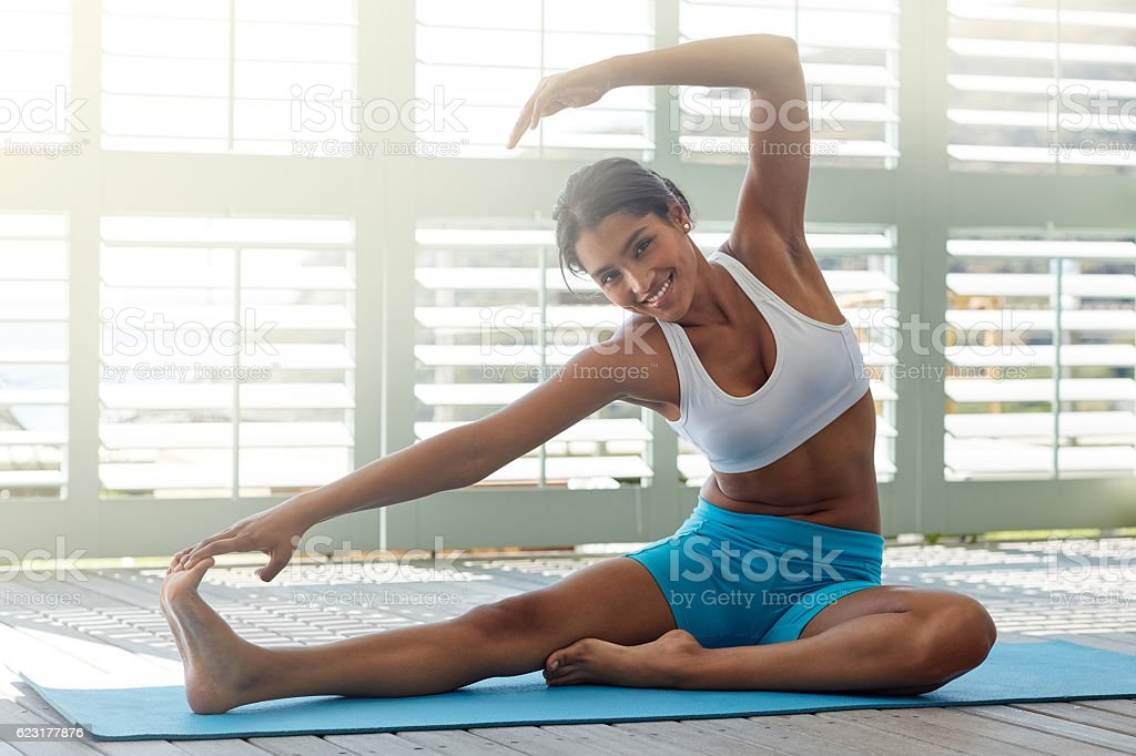 Hit the mat or hit the road stock photo
