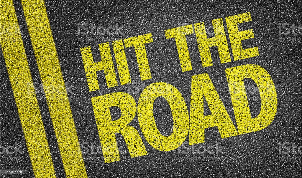 Hit the Road written on the road stock photo
