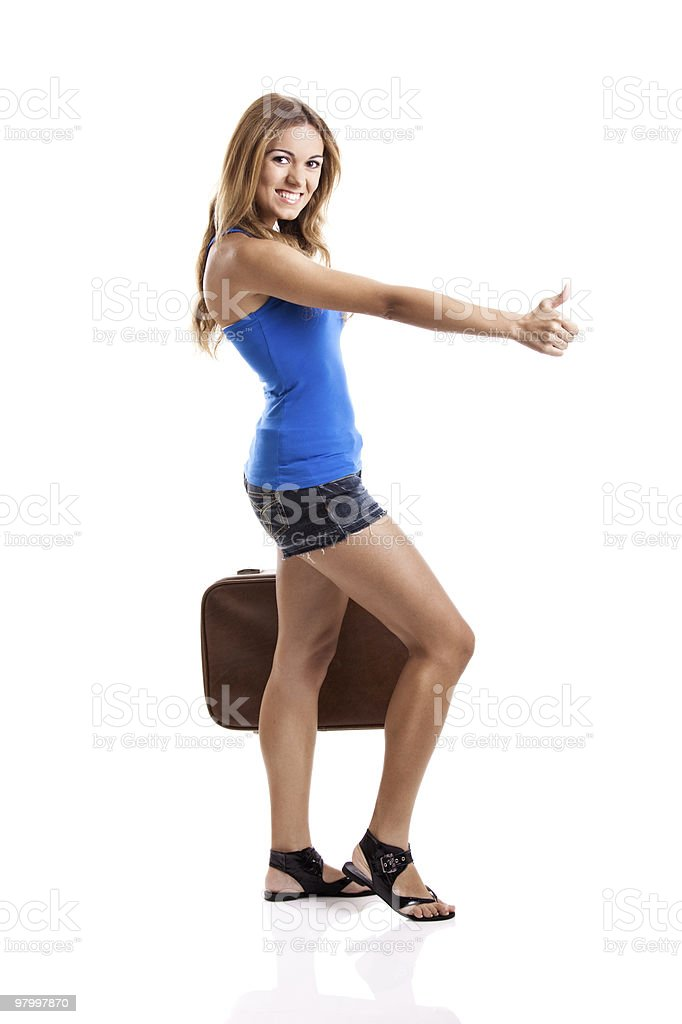 Hitch hiking woman royalty-free stock photo