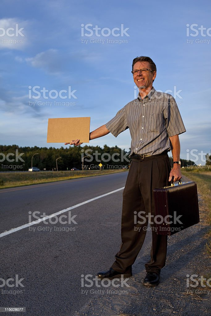 Hitchhiking Businessman Car Pooling  Business Travel royalty-free stock photo
