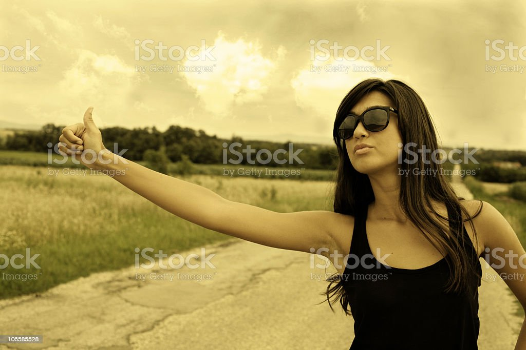 Hitchhiking royalty-free stock photo