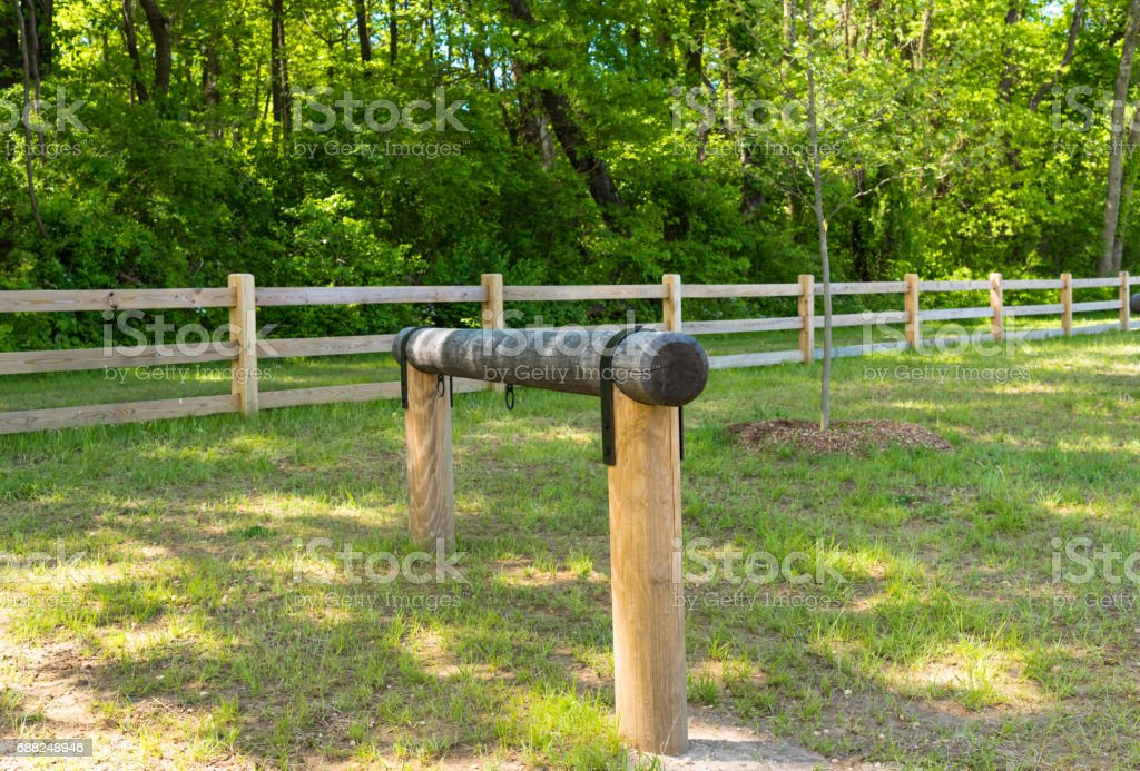 Hitching Post in the Woods stock photo