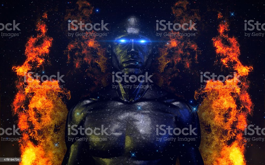 Hi-Tech Android (Robotic Male Model) V2 Burning Concept stock photo