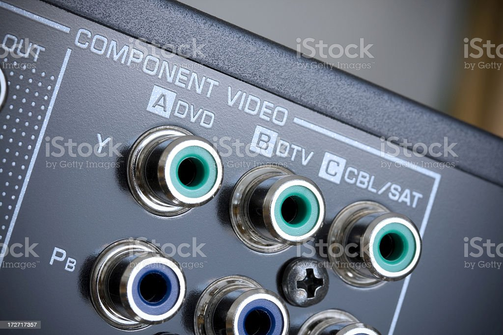 Hi-Tech AV receiver's connectors royalty-free stock photo