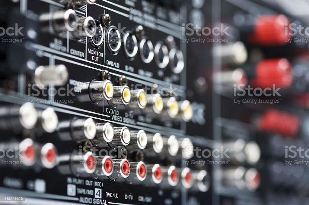 Hi-Tech AV receiver's connectors stock photo