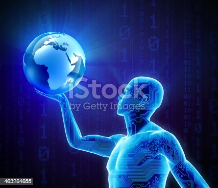 istock Hi-tech circuit man holding earth 463264655
