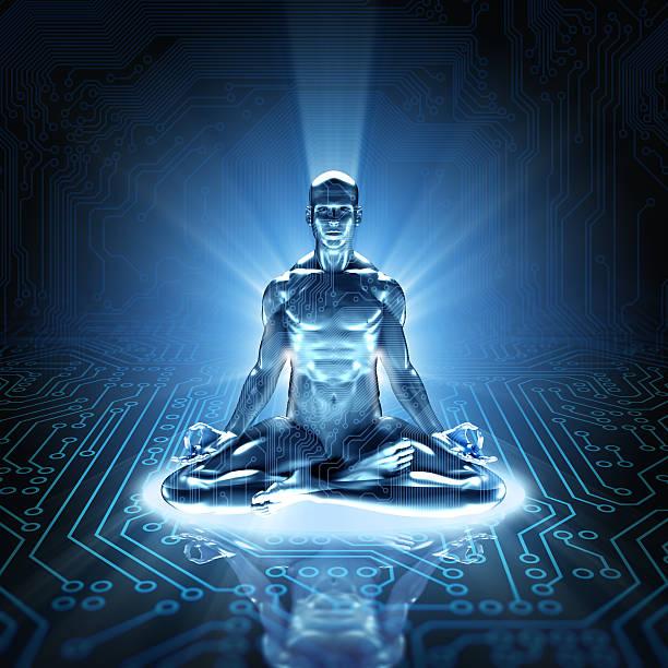 hi-tech-cyber-meditation auf der circuit board - achtsamkeit persönlichkeitseigenschaft stock-fotos und bilder