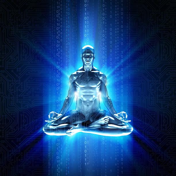 hi-tech-cyber-meditation mit gleichmäßige daten - achtsamkeit persönlichkeitseigenschaft stock-fotos und bilder