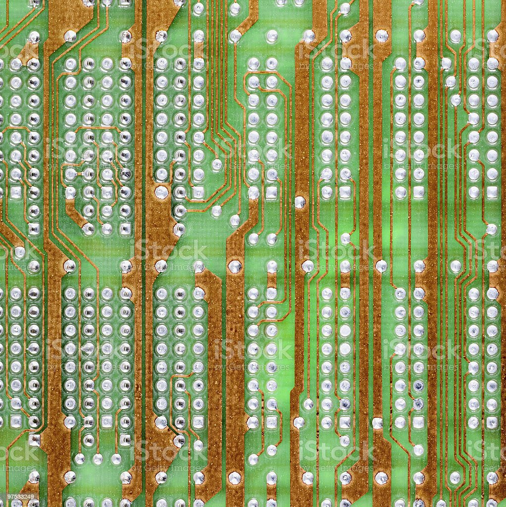 Hi-tech electronic circuit board green texture royalty-free stock photo